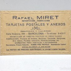 Postales: TARJETA POSTAL PRESENTACION - RAFAEL MIRET BARCELONA 1929. Lote 126363399