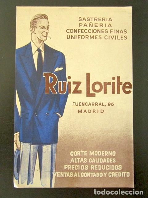 POSTAL PUBLICITARIA. RUIZ LORITE, MADRID. SASTRERÍA, PAÑERÍA, CONFECCIONES. (Postales - Postales Temáticas - Publicitarias)