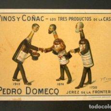 Postales: POSTAL PUBLICITARIA. PEDRO DOMECQ, JEREZ DE LA FRONTERA. VINOS Y COÑAC. TRES PRODUCTOS DE LA CASA. Lote 126986423
