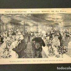 Postales: POSTAL PUBLICITARIA. RESTAURANT MONICO, 66, RUE PIGALLE. PARIS MONTMARTRE. . Lote 127029791