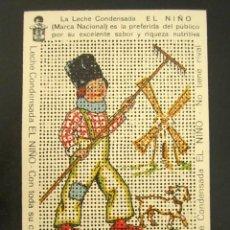 Postales: POSTAL PUBLICITARIA. LA LECHE CONDENSADA EL NIÑO. TROQUELADA PARA BORDAR. MUY BONITA Y ORIGINAL. Lote 127120431
