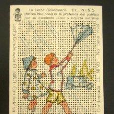 Postales: POSTAL PUBLICITARIA. LECHE CONDENSADA EL NIÑO. TROQUELADA PARA BORDAR. MUY BONITA Y ORIGINAL. . Lote 127126615