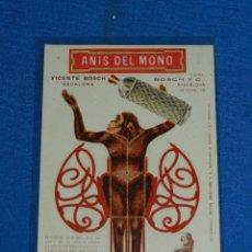 Postales: TARJETA ANIS DEL MONO , VICENTE BOSH , BADALONA , RECORTAR LA FIGURA , AÑOS 20 , 14 X 9 CM,. Lote 128608915
