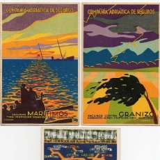 Postales: 3 POSTALES PUBLICITARIA, COMPAÑIA ADRIATICA DE SEGUROS,. Lote 128766975