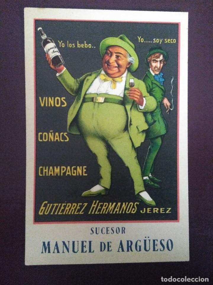 SUCESOR MANUEL DE ARGUESO. VINOS, COÑACS, CHAMPAGNE. GUTIÉRREZ HERMANOS. JEREZ (Postales - Postales Temáticas - Publicitarias)