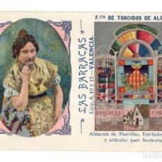 Postales: VALENCIA.- PUBLICITARIA. LAS BARRACAS. ALMACEN DE PUNTILLAS. FABRICA DE TORCIDOS ALGODON.. Lote 129507007