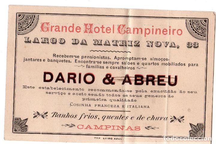 TARJETA PUBLICITARIA. GRANDE HOTEL CAMPINEIRO. DARIO & ABREU. CAMPINAS. (Postales - Postales Temáticas - Publicitarias)