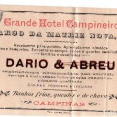 Postales: TARJETA PUBLICITARIA. GRANDE HOTEL CAMPINEIRO. DARIO & ABREU. CAMPINAS.. Lote 188463405