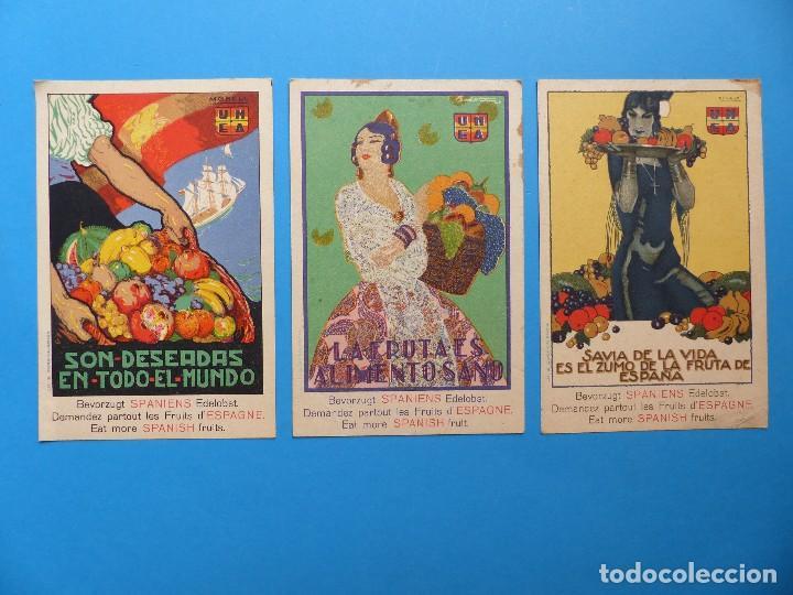 3 BONITAS POSTALES PUBLICITARIAS DE FRUTA - MORELL, PENAGOS (Postales - Postales Temáticas - Publicitarias)
