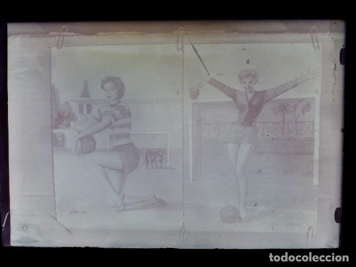 Postales: DIBUJOS CHICAS FUTBOLISTAS FUTBOL - 8 CLICHES ORIGINALES - NEGATIVOS EN CRISTAL - EDICIONES ARRIBAS - Foto 17 - 131355782