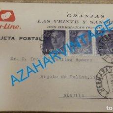 Postales: DOS HERMANAS, 1966, TARJETA POSTAL GRANJAS LAS VEINTE Y SAN HILARIO, RARA. Lote 132877638