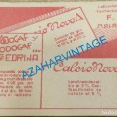 Postales: LABORATORIOS F, MALAGA. ESPECIALIDADES FARMACEUTICAS. YODOCAF, CALCIO NOVO. Lote 132878966