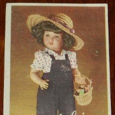 Postales: POSTAL DE LA MUÑECA MALIBÚ, INDUSTRIAS LOPADI, AÑOS 40, REVERSO CON PUBLICIDAD DE LA JUGUETERIA PABU. Lote 133599662