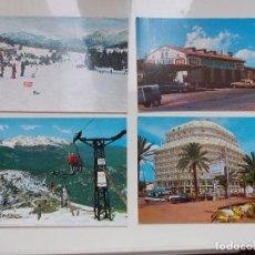 Postales: LOTE DE 4 POSTALES ORIGINALES AÑOS ¨60¨ DE COCA-COLA: AGER, SITGES, BERGA, ESQUÍ. Lote 133629686