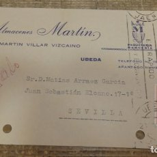 Postales: TARJETA COMERCIAL DE ALMACENES MARTIN -UBEDA -MERCERIA-CIRCULADA EN 1966. Lote 135049190