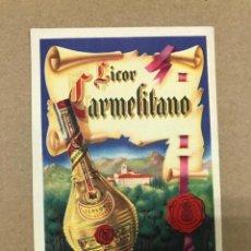Postales: TARJETA POSTAL PUBLICIDAD LICOR CARMELITANO BENICASIM CASTELLON, ORIGINAL. Lote 135668403