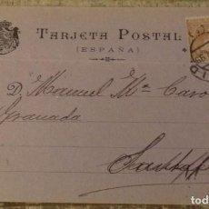 Postales: TARJETA POSTAL. E. CAPDEVILLE, LIBRERO, MADRID. CIRCULADA EN 1899. PELÓN.. Lote 136344374