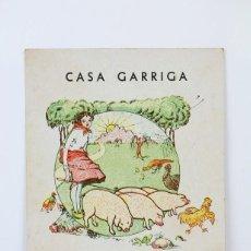 Postales: ANTIGUA TARJETA PUBLICITARIA - CASA GARRIGA, ELABORACIÓN EMBUTIDOS Y FIAMBRES - BARCELONA. Lote 136542350