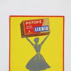 Postales: ANTIGUA TARJETA POSTAL PUBLICITARIA- CALDO DE AVE POTOFÉ, LIEBIG - IND. RIERA-MARSA, AÑOS 50 - CUPÓN. Lote 136669746
