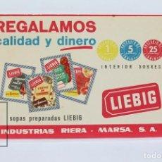 Postales: ANTIGUA TARJETA POSTAL PUBLICITARIA - SOPAS PREPARADAS LIEBIG - IND. RIERA-MARSA - AÑOS 50 - CUPÓN. Lote 136669970
