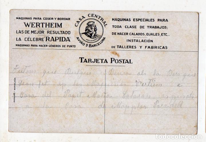 Postales: Postal publicitaria antigua de Máquinas de Coser y Bordar Wertheim, Barcelona. - Foto 2 - 138057238