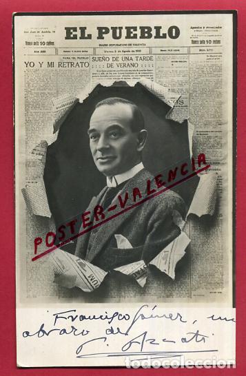 POSTAL PUBLICIDAD PERIODICO EL PUEBLO , VALENCIA , PERIODISTA AZZATI , AUTOGRAFO, ORIGINAL, P301 (Postales - Postales Temáticas - Publicitarias)
