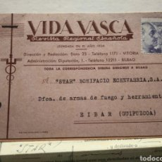 Postales: VIDA VASCA. DOS POSTALES MAS CONTRATO DE ANUNCIO. AÑO 1945.. Lote 139550873