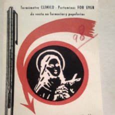 Postales: TERMOMETRO CLINICO-PORTAMINAS. FOR EVER. MADRID.. Lote 139551264