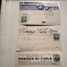 Postales: DOMINGO DE PABLO. BURGOS. ARMERIA. TRES POSTALES. AÑOS 30. CIRCULADAS.. Lote 139556896