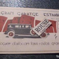 Postales: ANTIGUO CARTON PUBLICITARIO - GRAN GARATGE ESTRADA SARRIA 102 BARCELONA LLOGUER D'AUTOCARS I AUTOS . Lote 140160726