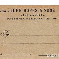 Postales: TARJETA POSTAL PUBLICITARIA. JOHN HOPPS & SONS. MAZZARA. VINI MARSALA. FATTORIA FONDATA NEL 1811.. Lote 181453658