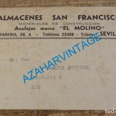 Postales: ANTIGUA TARJETA PUBLICITARIA ALMACENES SAN FRANCISCO, SEVILLA, REVERSO TARIFA. Lote 140384326