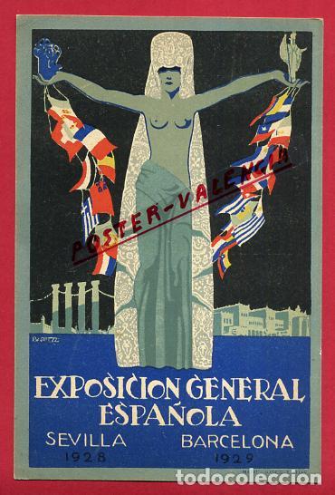 POSTAL PUBLICIDAD, EXPOSICION GENERAL ESPAÑOLA , SEVILLA 1928 BARCELONA 1929 , ORIGINAL , P464 (Postales - Postales Temáticas - Publicitarias)