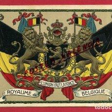 Postales: POSTAL PUBLICIDAD, BELGICA , ESCUDO Y BANDERAS , CON RELIEVE , ORIGINAL , P472. Lote 150405398