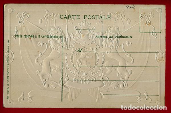 Postales: POSTAL PUBLICIDAD, BELGICA , ESCUDO Y BANDERAS , CON RELIEVE , ORIGINAL , P472 - Foto 2 - 150405398