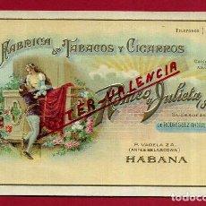 Postales: POSTAL PUBLICIDAD, FABRICA DE TABACOS Y CIGARROS ROMEO Y JULIETA, HABANA CUBA , ORIGINAL , P473. Lote 140638874