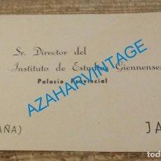 Postales: AÑOS 50, TARJETA DEL INSTITUTO DE ESTUDIOS GIENNENSES, JAEN, RARA. Lote 140778918