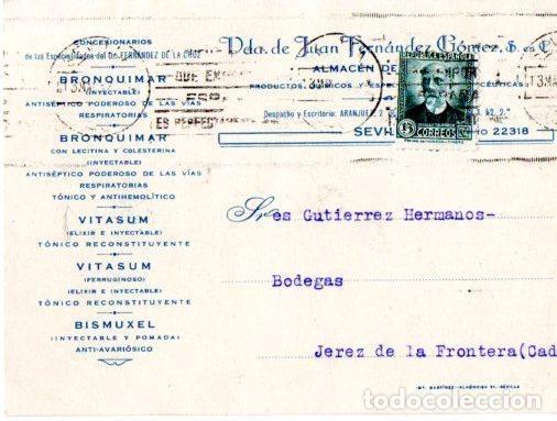 TARJETA POSTAL PUBLICITARIA VIUDA DE JUAN FERNANDEZ GOMEZ. SEVILLA. FARMACIA. 1932. (Postales - Postales Temáticas - Publicitarias)