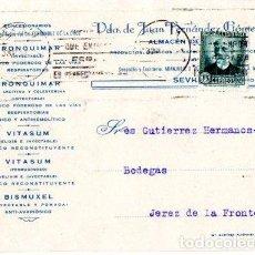 Postales: TARJETA POSTAL PUBLICITARIA VIUDA DE JUAN FERNANDEZ GOMEZ. SEVILLA. FARMACIA. 1932.. Lote 142194010