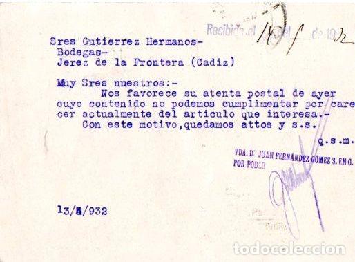 Postales: TARJETA POSTAL PUBLICITARIA VIUDA DE JUAN FERNANDEZ GOMEZ. SEVILLA. FARMACIA. 1932. - Foto 2 - 142194010