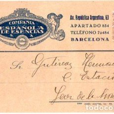 Postales: TARJETA POSTAL COMPAÑIA DE ESENCIAS S.A. BARCELONA. 1931. Lote 142194454