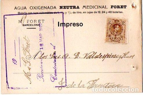 AGUA OXIGENADA NEUTRA MEDICINAL FORET. BARCELONA 1922. (Postales - Postales Temáticas - Publicitarias)