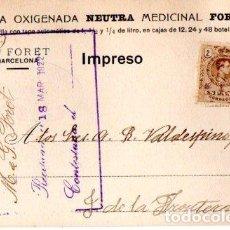 Postales: AGUA OXIGENADA NEUTRA MEDICINAL FORET. BARCELONA 1922.. Lote 142565866