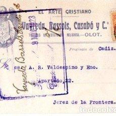 Postales: VAYREDA, BASSOLS, CASABO Y Cª. TALLER DE ESTATUARIA RELIGIOSA. OLOT. 1923.. Lote 142566426