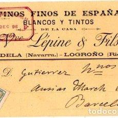 Postales: BODEGAS FRANCO ESPAÑOLAS. LEPINE Y FILS. TUDELA-LOGROÑO. 1896. Lote 142566590