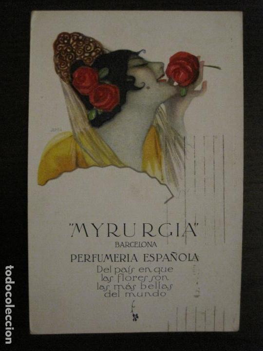MYRURGIA BARCELONA PERFUMERIA ESPAÑOLA-POSTAL ANTIGUA PUBLICITARIA-(54.821) (Postales - Postales Temáticas - Publicitarias)