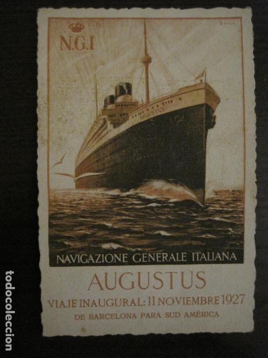 AUGUSTUS-VIAJE INAUGURAL 11 NOVIEMBRE 1927-BARCELONA SUDAMERICA-POSTAL ANTIGUA PUBLICITARIA-(54.824) (Postales - Postales Temáticas - Publicitarias)