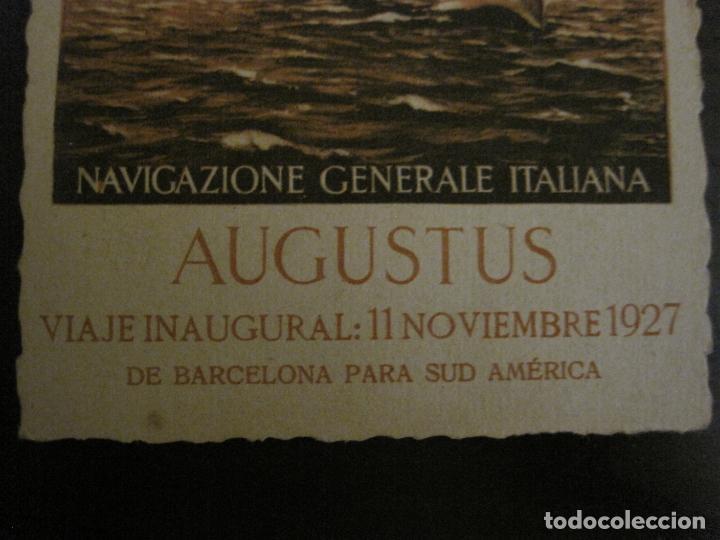 Postales: AUGUSTUS-VIAJE INAUGURAL 11 NOVIEMBRE 1927-BARCELONA SUDAMERICA-POSTAL ANTIGUA PUBLICITARIA-(54.824) - Foto 3 - 142612734