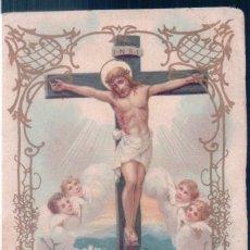 Postales: ESTAMPA JESUS CRUCIFICADO - REVERSO PUBLICIDAD CHOCOLATE JUNCOSA 1835 BARCELONA - 8,5 X 5,5 CM. Lote 144211470