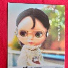 Postales: PUBLICIDAD DE SONY. GRABA LA MUSICA DE LA RED EN TU MINI DISC. WALKMAN. . Lote 145910706